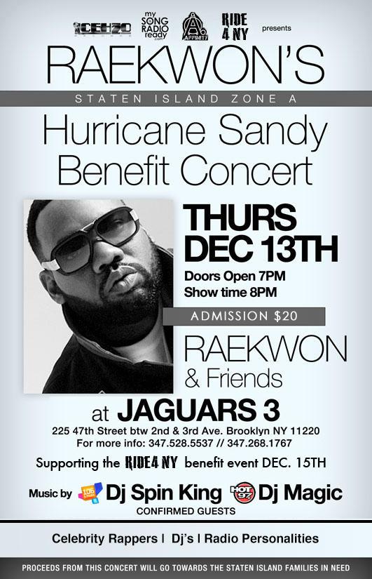 Raekwon's Hurricane Sandy benefit concert on December 13th